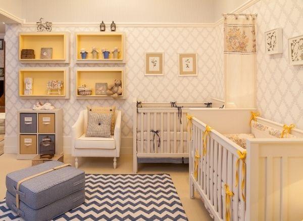 decoracao de quarto de bebe azul e amarelo:Cinza, amarelo e branco: uma combinação perfeita!