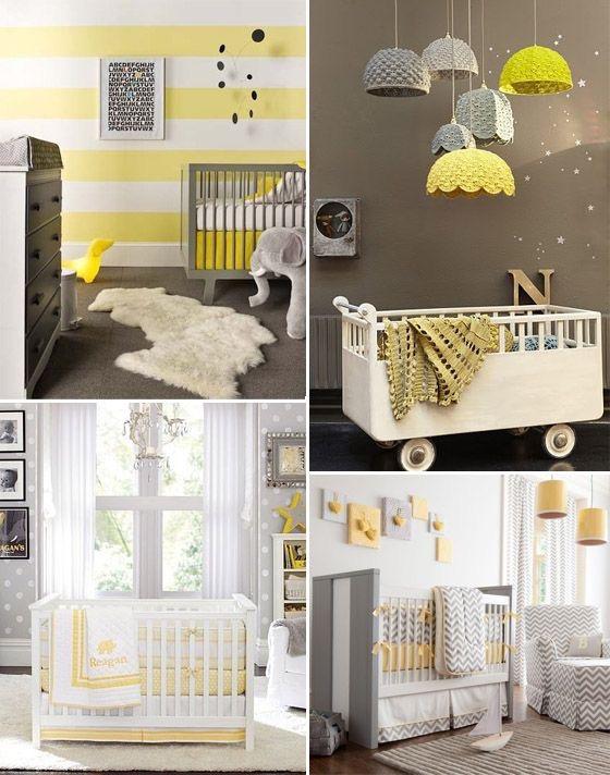 Decoração quarto bebê – Cinza e Amarelo ~ Quarto Rosa Azul E Amarelo